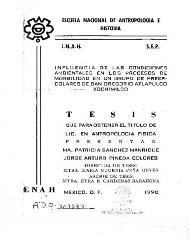 Influencia de las condiciones ambientales en los procesos de morbilidad en  un grupo de prescolares de San Gregorio Atlapulco Xochimilco