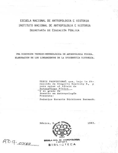 Una discusión teórico-metodológica en antropología física. Elaboración de los lineamientos de una epigenética histórica