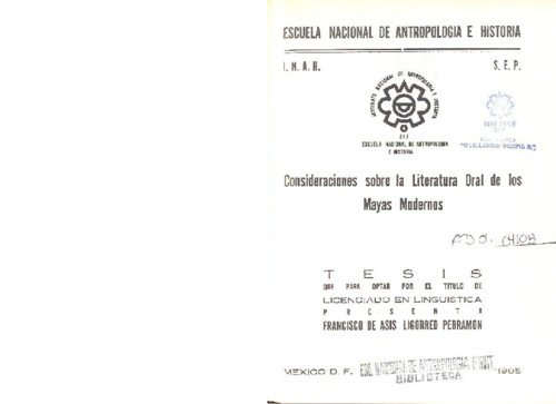 Consideraciones sobre la literatura oral de los Mayas modernos