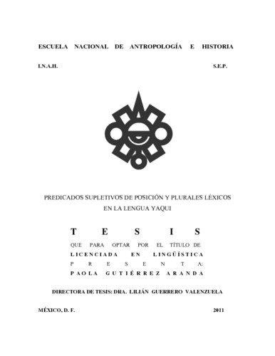 Predicados supletivos de posición y plurales léxicos en la lengua Yaqui