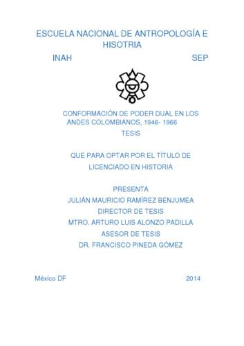 Conformación de poder dual en los andes colombianos, 1946-1966