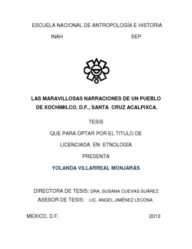 Las maravillosas narraciones de un pueblo de Xochimilco, D.F., Santa Cruz Acalpixca