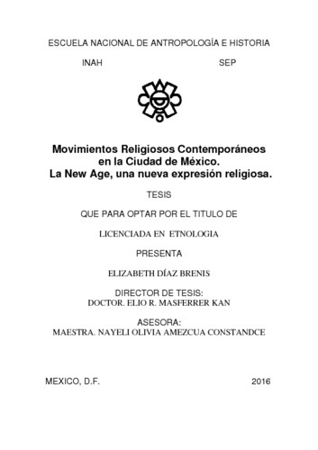 Movimientos religiosos contemporáneos en la Ciudad de México. la new age, una nueva expresión religiosa