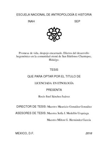 Promesa de vida, despojo encarnado. Efectos del desarrollo hegemónico en la comunidad otomi de San Idelfonso Chantepec, Hidalgo