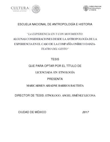 """""""La experiencia en y con movimiento: algunas consideraciones desde la antropología de la experiencia en el caso de la Compañía Onírico Danza Teatro del Gesto"""""""