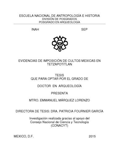 Evidencias de imposición de cultos mexicas en Tetzapotitlan