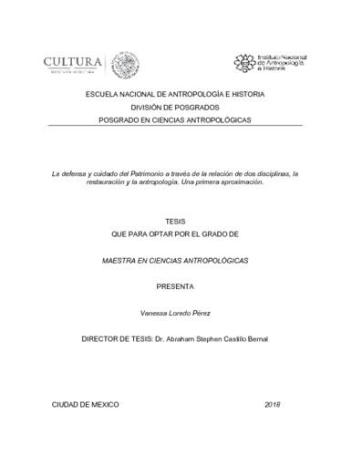 La defensa y cuidado del Patrimonio a través de la relación de dos disciplinas, la restauración y la antropología