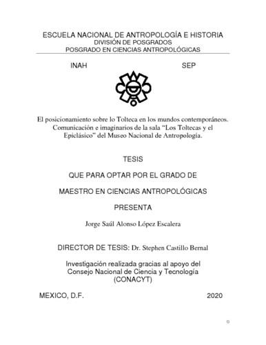 El posicionamiento sobre lo Tolteca en los mundos contemporáneos