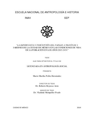 La importancia y percepción del paisaje a través de 3 jardines de la Ciudad de México en las condiciones de vida de la población en los años 2015-2016