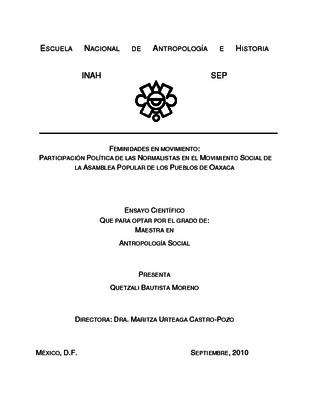 Feminidades en movimiento: participación política de las normalistas en el movimiento social de la Asamblea Popular de los Pueblos de Oaxaca