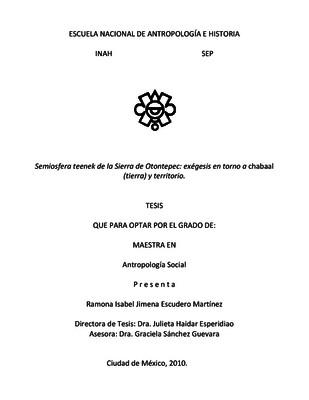 Semiosfera teenek de la Sierra de Otontepec: exégesis en torno a chabaal (tierra) y territorio