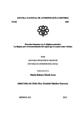 Derechos humanos en el Altiplano potosino: la disputa por el reconocimiento del sujeto que se asume como victima
