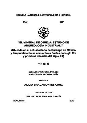 El mineral de Ojuela: estudio de arqueología industrial