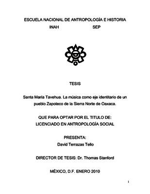 Santa María Tevehua. La música como eje identitario de un pueblo zapoteco de la Sierra Norte de Oaxaca