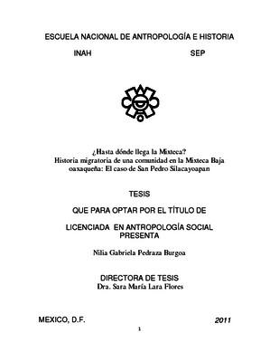 ¿Hasta donde llega la Mixteca? Historia migratoria de una comunidad en la Mixteca Baja oaxaqueña: el caso de San Pedro Silacayoapan