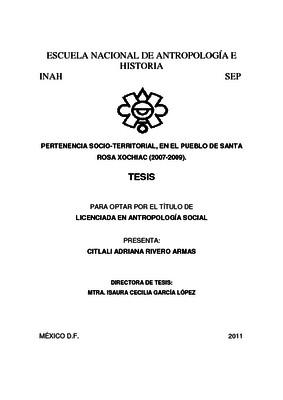 Pertenencia socio-territorial, en el pueblo de Santa Rosa Xochiac (2007-2009)