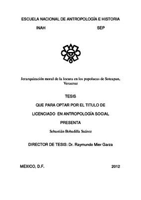 Jerarquización moral de la locura en los popolucas de Soteapan, Veracruz