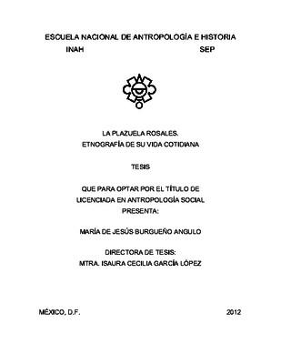 La Plazuela Rosales. Etnografía de su vida cotidiana