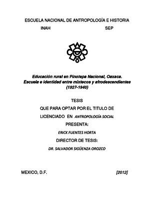 Educación rural en Pinotepa Nacional, Oaxaca. Escuela e identidad entre mixtecos y afrodescendientes (1927-1940)