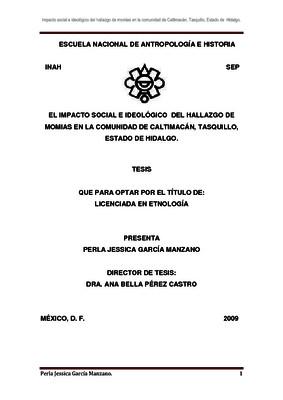 El impacto social e ideológico del hallazgo de momias en la comunidad de Caltimacán, Tasquillo, Estado de Hidalgo