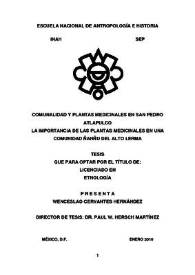 Comunalidad y plantas medicinales en San Pedro Atlapulco