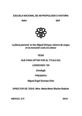 La fiesta patronal en San Miguel Almaya: sistema de cargos en la transición rural a lo urbano