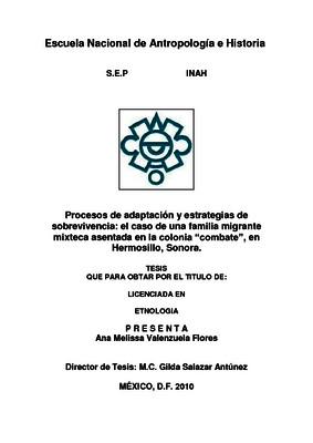 """Procesos de adaptación y estrategias de sobrevivencia: el caso de una familia migrante mixteca asentada en la colonia """"combate"""", en Hermosillo, Sonora"""
