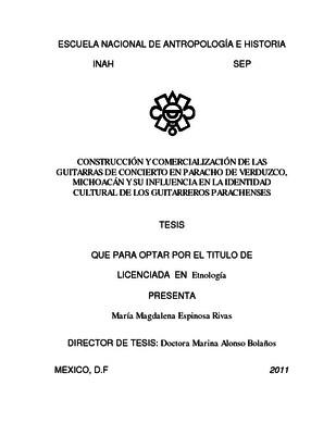 Construcción y comercialización de las guitarras de concierto en Paracho de Verduzco, Michoacán y su influencia en la identidad cultral de los guitarreros parachenses