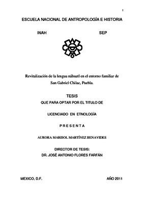 Revitalización de la lengua náhuatl en el entorno familiar de San Gabriel Chilac, Puebla