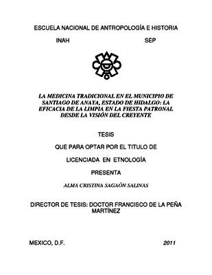 La medicina tradicional en el municipio de Santiago de Anaya, Estado de Hidalgo: la eficacia de la limpia en la fiesta patronal desde la visión del creyente