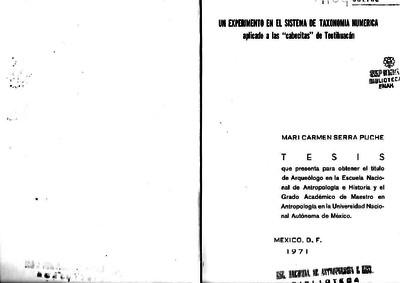 """Un experimento en el sistema de taxonomía numérica aplicado a las """"cabecitas"""" de Teotihuacan"""