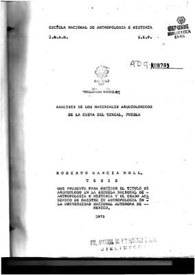 Análisis de los materiales arqueológicos de la Cueva del Texcal, Puebla