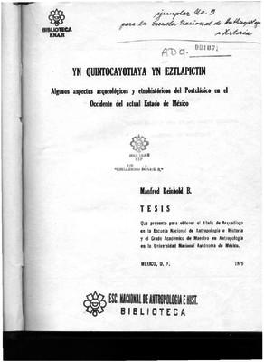 Algunos aspectos arqueológicos y etnohistóricos del Postclásico en el occidente del actual Estado de México