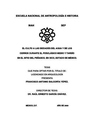 El culto a las deidades del agua y de los cerros durante el Posclásico Medio y Tardío en el sitio del Peñasco, en Xico, Estado de México
