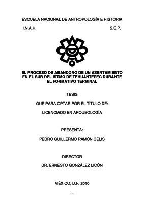 El proceso de abandono de un asentamiento en el sur del Istmo de Tehuantepec durante el Formativo Terminal