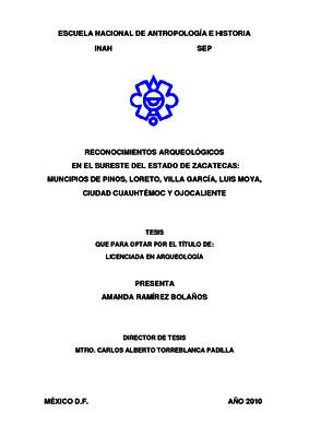 Reconocimientos arqueológicos en el sureste del Estado de Zacatecas: municipios de Pinos, Loreto, Villa García, Luis Moya, Ciudad Cuauhtémoc y Ojocaliente