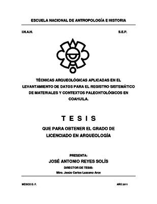 Técnicas arqueológicas aplicadas en el levantamiento de datos para el registro sistemático de materiales y contextos paleontológicos en Coahuila