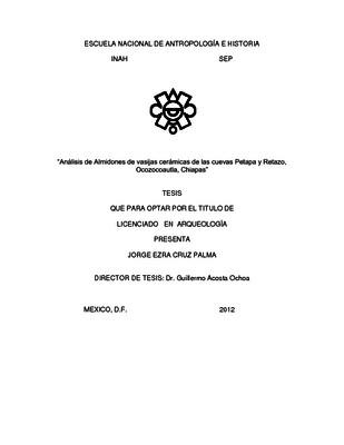 Análisis de almidones de vasijas cerámicas de las cuevas Petapa y Retazo, Ocozocoautla, Chiapas