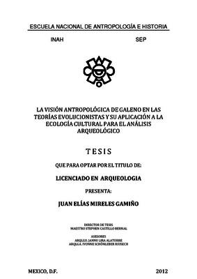 La visión antropológica de Galeno en las teorías evolucionistas y su aplicación a la ecología cultural para el análisis arqueológico
