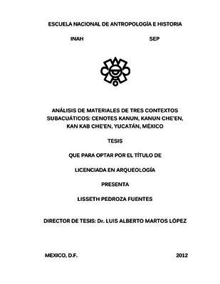 Análisis de materiales de tres contextos subacuáticos: cenotes Kanun, Kanun Che'en, Kan Kab Che'en, Yucatán, México