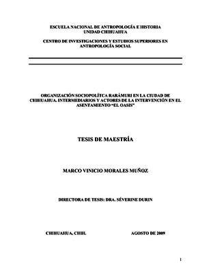 """Organización sociopolítica Rarámuri en la Ciudad de Chihuahua. Intermediarios y actores de la intervención en el asentamiento """"El Oasis"""""""