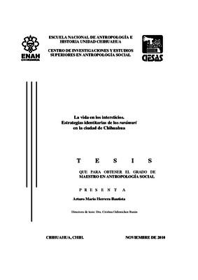 La vida en los intersticios. Estrategias identitarias de los rarámuri en la ciudad de Chihuahua