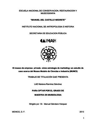 El museo de empresa privada como estrategia de marketing: un estudio de caso acerca del Museo Modelo de Ciencias e Industria (MUMCI)