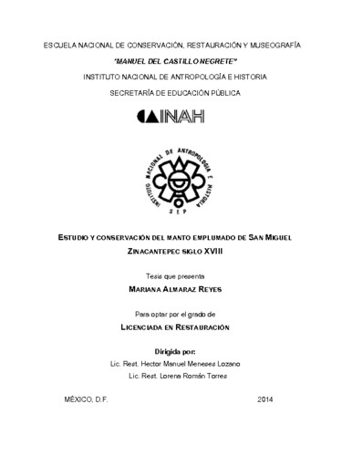 Estudio y conservación del Manto Emplumado de San Miguel Zinacantepec siglo XVII