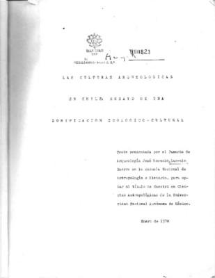 Las culturas arqueológicas en Chile: ensayo de una zonificación ecológica cultural