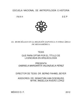 El murciélago en la religión zapoteca y otras áreas de Mesoamérica