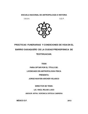 Prácticas funerarias y condiciones de vida en el barrio oaxaqueño de la ciudad prehispánica de Teotihuacan