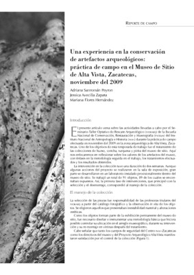 Una experiencia en la conservación de artefactos arqueológicos: práctica de campo en el Museo de Sitio de Alta Vista, Zacatecas, noviembre del 2009