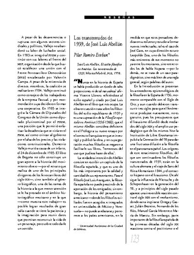 Los transterrados de 1939, de José Luis Abellán