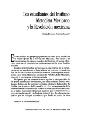 Los estudiantes del Instituto Metodista Mexicano y la Revolución Mexicana